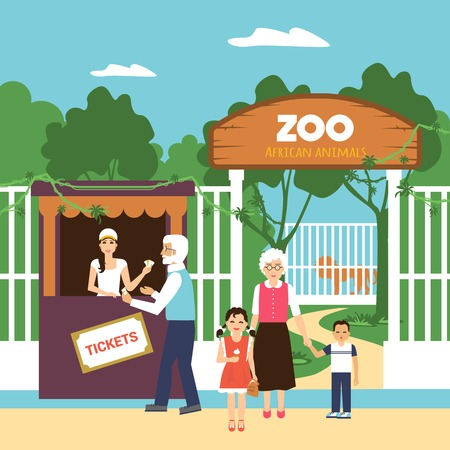 Old age people with grandchildren buying zoo tickets flat vector illustration