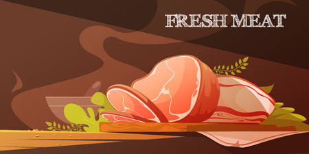 cartoon ham: Fresh meat flat vector illustration in cartoon style with delicious slice of bacon and baked pork ham