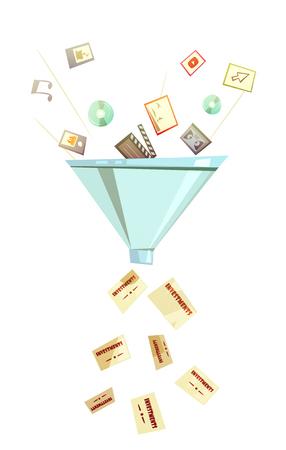 profitable: Intellectual investment for profitable business success symbolic funnel retro icon for business success retro cartoon vector illustration