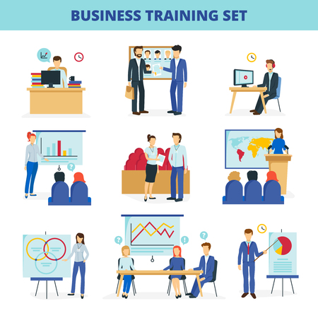 training programs: Business training and consulting institute programs for effective leadership and innovations flat icons collection isolated vector illustration