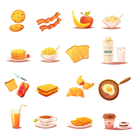 english breakfast: Classic breakfast icons collection with beacon fruits croissant milk and english tea abstract retro isolated vector illustration