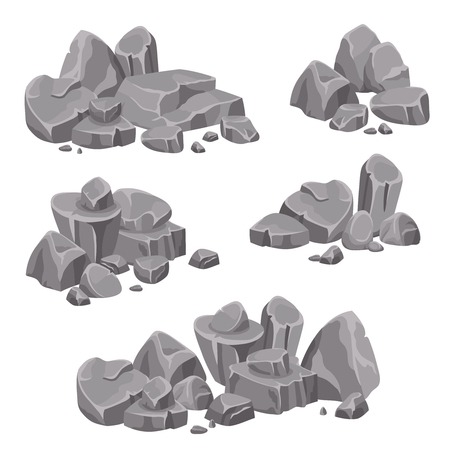 rubble: Design groups of rocks and stones boulders in gray color on white background isolated vector illustration