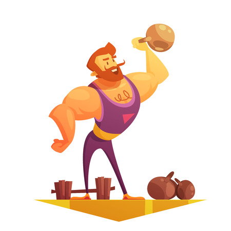 strongman: Traveling chapiteau circus show element retro cartoon style icon with strongman lifting barbels abstract vector illustration