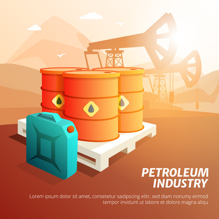 benzene: Petroleum industry facilities composition isometric poster with oil storage tanks canisters and containers background vector illustration