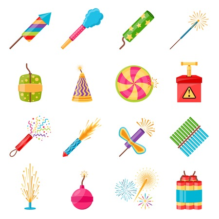 pyrotechnics: Pyrotechnics festival flat icons set with colorful firework crackers of different shape isolated on white background vector illustration Illustration