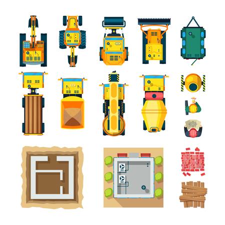 Bouw pictogrammen instellen bovenaanzicht met bouw machines vlakke geïsoleerde vector illustratie