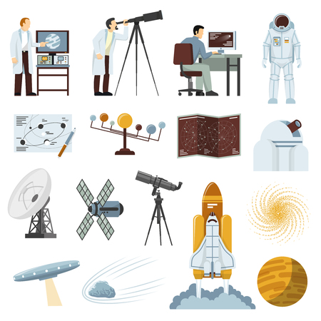 space suit: Astronomy study research equipment flat icons collection with radio telescope spacecraft and astronaut space suit isolated vector illustration