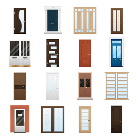 glas: Various colorful closed front double and single doors to houses and buildings isolated on white background flat vector illustration Illustration