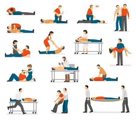First aid emergency treatment and cpr technique in life threatening situations flat icons collection abstract isolated vector illustration 일러스트