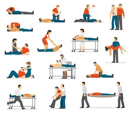 Los primeros auxilios tratamiento de emergencia y la técnica de RCP en la vida situaciones de peligro iconos planos aislados colección abstracta ilustración vectorial