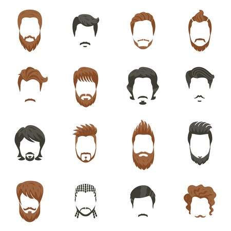 men hairstyle: Men hairstyle icons set with beard and moustache flat isolated vector illustration Illustration