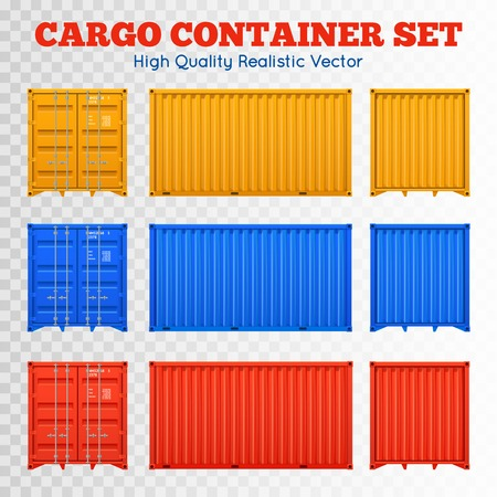 Colorful cargo containers views from different sides set isolated on transparent background realistic vector illustration