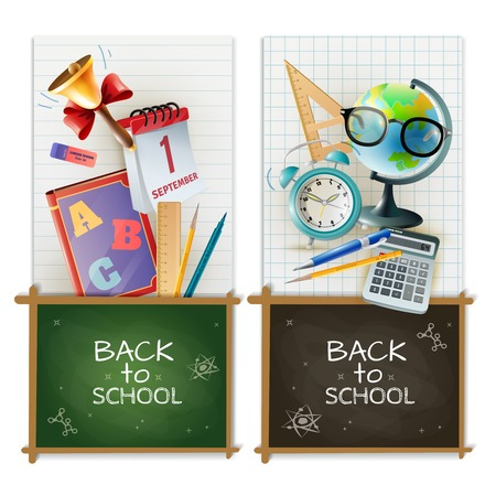 school classroom: Back to school 2 vertical realistic banners set with chalkboards alarm clock and classroom accessories isolated vector illustration