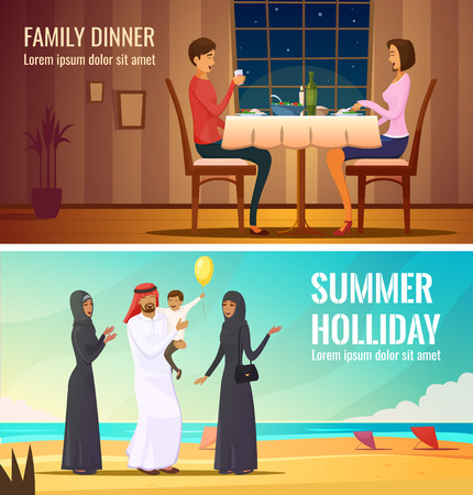 niqab: Eastern people design compositions with arab family in traditional costumes at south sea background and couple having dinner in restaurant flat vector illustration
