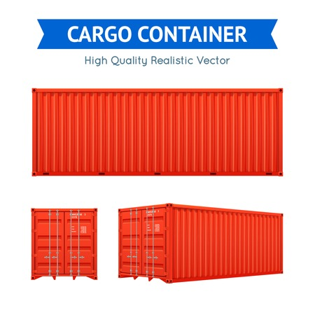 Red cargo freight container from side and isometric views set isolated on white background realistic vector illustration
