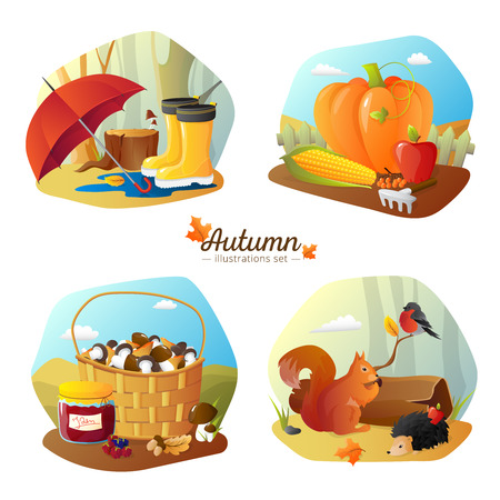 Autumn season 4 icons square poster with countryside harvest and forest hiking accessories cartoon isolated vector illustration Illustration