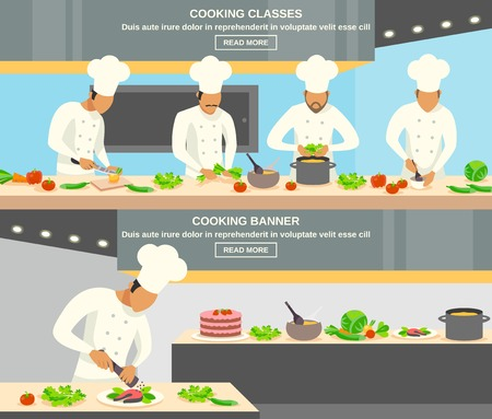 chef kitchen: Cook profession horizontal banners set with cooking classes symbols flat isolated vector illustration