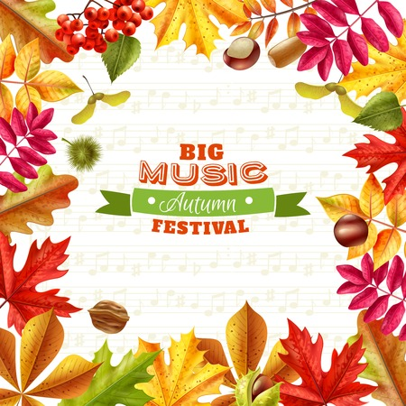 textural: Big autumn music festival background with bright fall leaves chestnuts berries and acorns on textural background flat vector illustration