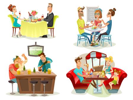 Restaurant Café-Bar 4 bunte Bilder Platz mit Fußballfans Familienküche und Dating Paar abstrakte Vektor-Illustration Standard-Bild - 61577044