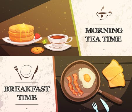morning tea: Breakfast time and morning tea two flat horizontal banners with cap of tea cake toast and pan with fried eggs vector illustration Illustration