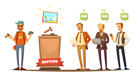 bidding: Traditional auction painting sale bidding participants with laptop tablet and cell phone retro cartoon people vector illustration