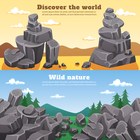 rubble: Rocks and stones horizontal banners with colorful wild nature cartoon landscapes flat vector illustration