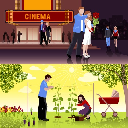 couple date: Happy couple having date at cinema and family working in garden flat compositions isolated vector illustration