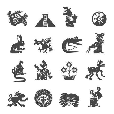 Écriture maya ancienne écriture noire collection d'icônes avec des signes astrologiques et symboles sacrés abstrait isolé illustration vectorielle