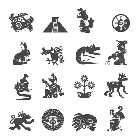 Maya  writing ancient script black icons collection with astrological signs and sacred symbols abstract isolated vector illustration Vectores