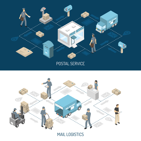 Post office service flowcharts 2 isometric horizontal banners with dark and white background abstract isolated vector illustration Illustration