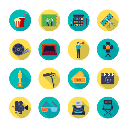 bobbin: Filmmaking and movie release attributes flat round icons collection with film bobbin and tickets isolated vector illustration