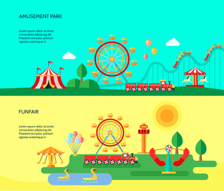 playground rides: Amusement funfair park park attractions 2 flat horizontal banners with traveling circus tent abstract isolated vector illustration