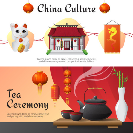 oriental medicine: Chinese culture and traditions 2 horizontal banners set with tea ceremony and fortune cat isolated vector illusttration