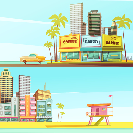sandy beach: Miami beach horizontal banners in cartoon style with sea shore barber bakery cafe lifeguard cabin flat vector illustration Illustration