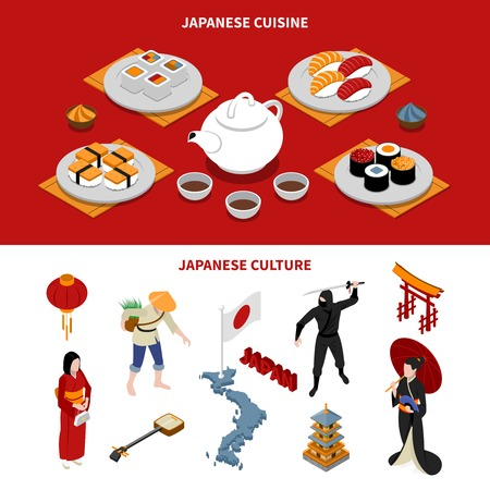 people in line: Horizontal japan touristic isometric banners with japanese national cuisine and various cultural elements on red and white backgrounds isometric isolated, vector, illustration