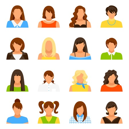 informal clothes: Woman avatar icons set with hairstyle and clothes flat isolated vector illustration
