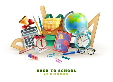 office supply: Back to school background poster for with office stationary supply items alarm clock and classroom accessories vector illustration
