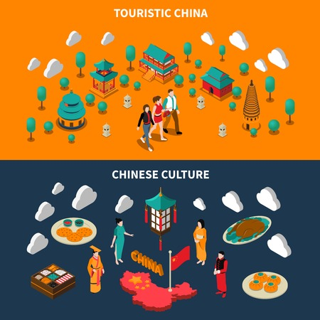 touristic: Horizontal colorful china touristic isometric banners with chinese culture elements on dark and orange backgrounds isolated vector illustration