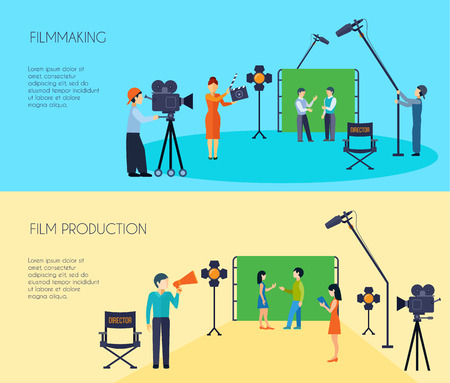 Filmmaking filmscène schieten 2 vlakke horizontale spandoeken met regisseur cameraman en assistent geïsoleerde vector illustratie
