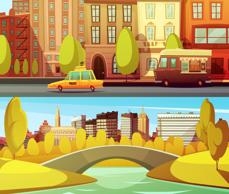central park: New york horizontal banners with city transport in downtown and central park in island manhattan flat vector illustration