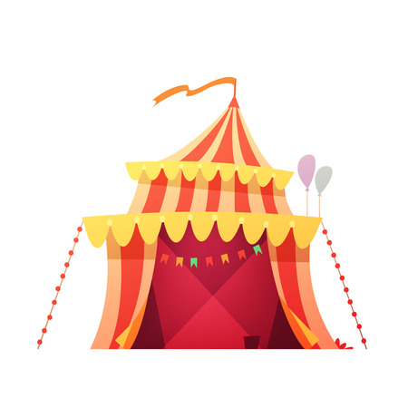 foe: Traveling chapiteau circus red yellow tent in amusement park ready foe show retro cartoon icon illustration vector Illustration