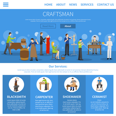 craftsman: One flat craftsman internet page describing services of blacksmith carpenter shoemaker ceramist and people of other professions vector illustration