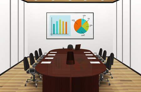 committee: Conference room light interior realistic design with statistics on the screen vector illustration Illustration