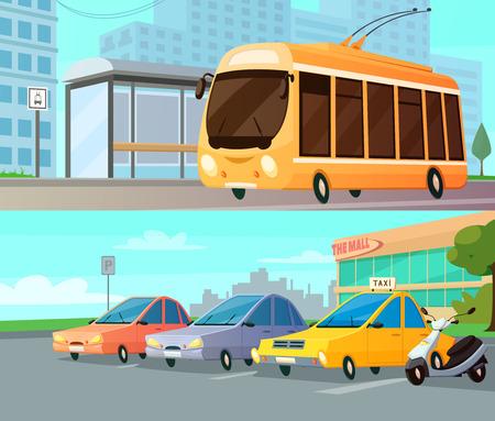 transport: Stad cartoon transport composities met trolley op straat stoppen en winkelcentrum parkeren met taxi auto's en moto plat vector illustratie