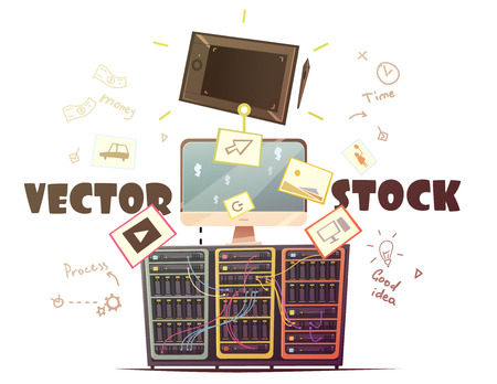 Business strategies for successful and profitable vector microstock contribution with money and time symbols retro cartoon illustration