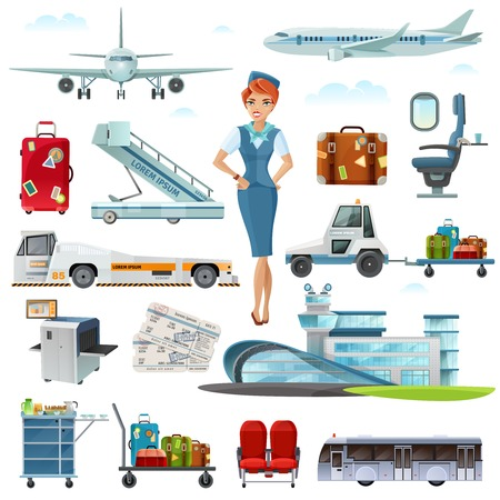flight crew: Airport flight attributes and accessories flat icons set with stewardess luggage airline tickets  abstract isolated vector illustrations Illustration
