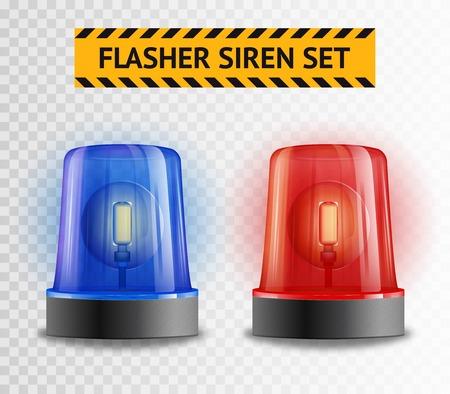 Dos sirenas de la policía luz intermitente conjunto aislado sobre fondo transparente ilustración vectorial realista