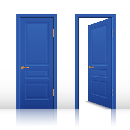 is closed: Blue house room open and closed doors with brown handles set isolated realistic vector illustration