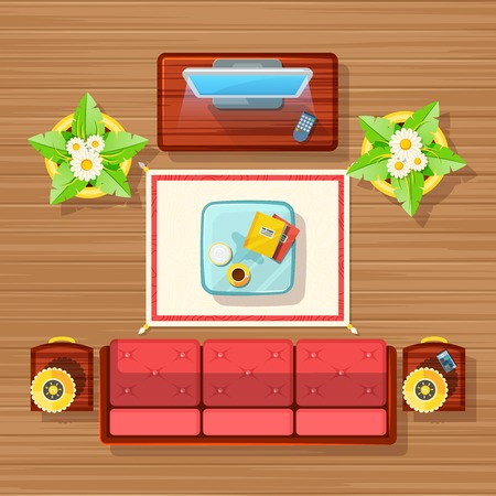 furniture home: Living room top view design with TV sofa carpet and table flat vector illustration