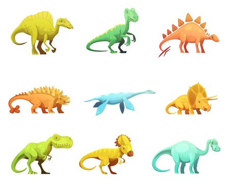 largest: Funny retro style dinosaurus cartoon characters figures of largest prehistoric animals collection abstract isolated vector illustration